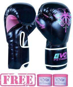 Evo Fitness - Gants Boxe Femme Cuir Rex Gel